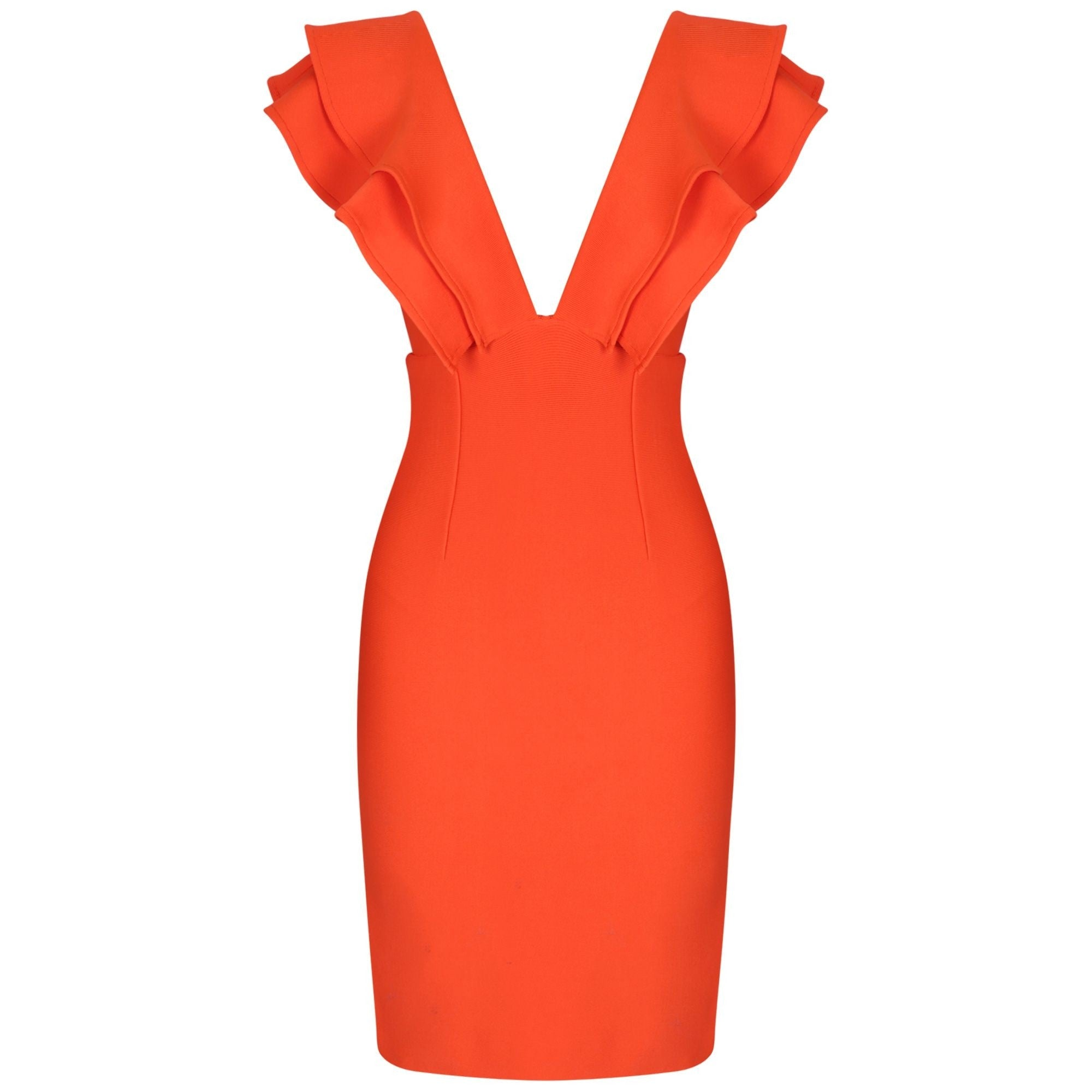 Annabelle Orange Frill Front Open Back Bandage Dress