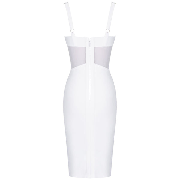 Jasmine White Strap Mini Mesh Bandage Dress