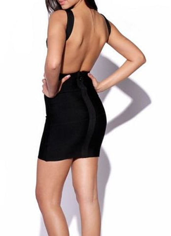 Mini black dress, sexy open back little black dress