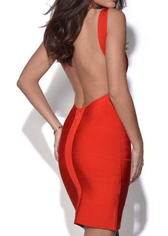 sexy open back red dress