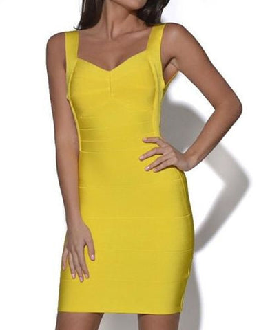 sexy mini open back dress yellow