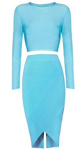 Acel Blue Two Piece Bandage Dress