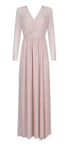 Adora Blush Sheer Mesh Maxi Dress