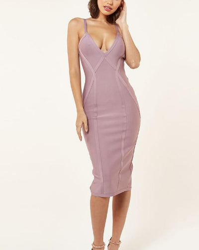 Aelin Lavender V Neck Sleeveless Midi Bandage Dress
