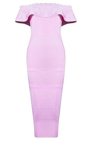 Aileen Pink Fluted Off Shoulder Bandage Dress