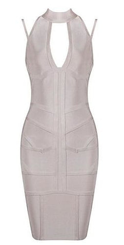 Aine Nude Deep V Neckline Bandage Dress