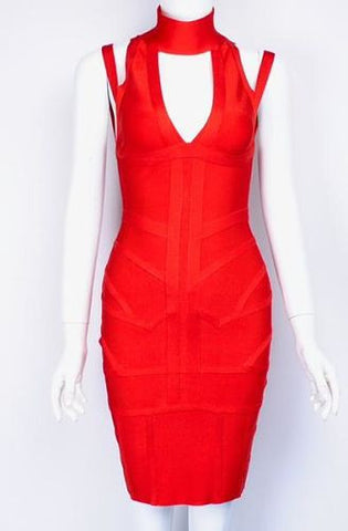 Aine Red Deep V Neckline Bandage Dress