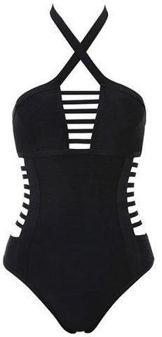 Alecia Black Ladder Cutout Bandage Swimsuit
