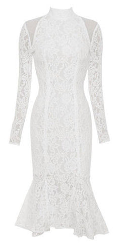 Alessandra White Long Sleeve Lace Dress