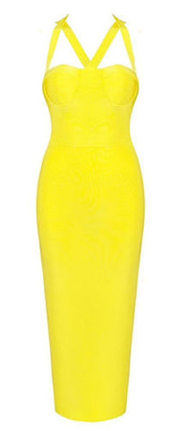 Alivia Yellow Bandage Dress