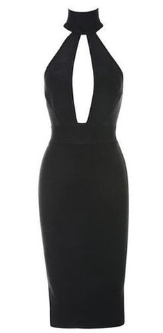Amanda Black Backless Bandage Dress