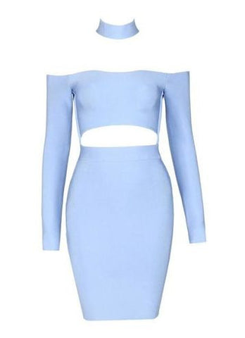 Amelia Blue Long Sleeve Bandage Dress