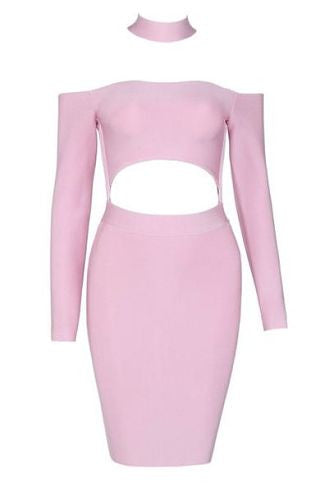 Amelia Pink Long Sleeve Bandage Dress