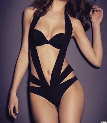 Aria Black Sexy Cutout Detail Bandage Swimsuit