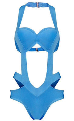 Aria Blue Sexy Cutout Detail Bandage Swimsuit