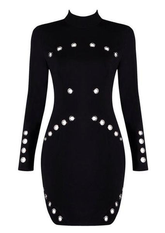 Bobbie Black Metal Detail Mini Dress