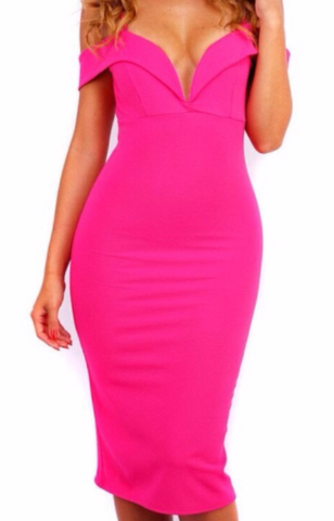 Bria Pink Sexy Neckline Dress