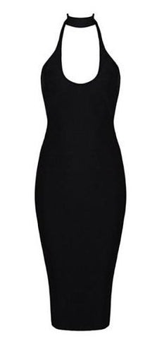 Brooke Black Halter Neck Bandage Dress