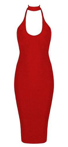 Brooke Red Halter Neck Bandage Dress