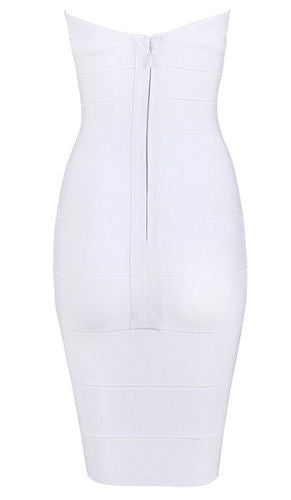 Cassy Mini Cream Bandage Dress