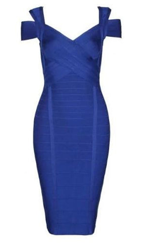 Corrine Blue Cut Out Shoulder Bandage Dress