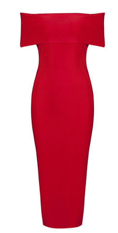 Desiree Red Off The Shoulder Bandage Dress