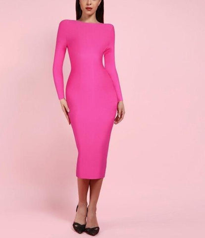 Eden Pink Round Neck Long Sleeve Bandage Dress