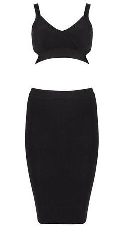 Elida Black Midi Two Piece Bandage Dress