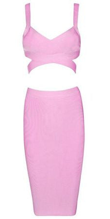Elida Pink Midi Two Piece Bandage Dress