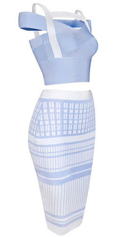 Elinor Light Blue Two Piece Bandage Dress