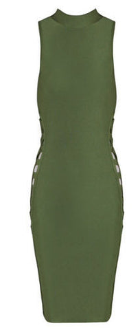 Emilia Green Lace Up Side Bandage Dress