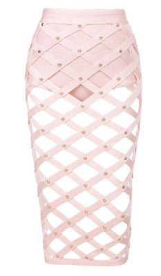Ena Light Pink Bandage Cage Skirt