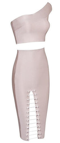Ericka Beige One Shoulder Two Piece Bandage Dress