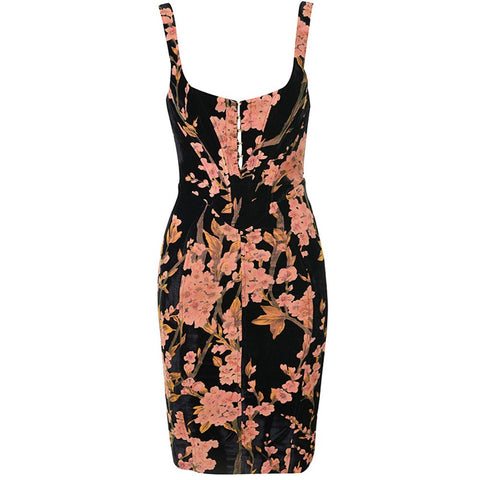 Evita Black Floral Midi Sleeveless Strap Dress