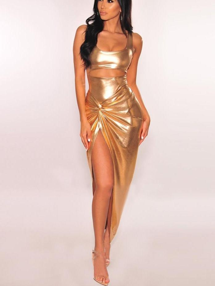 Fairen Gold Sleeveless Side Slit Party Dress