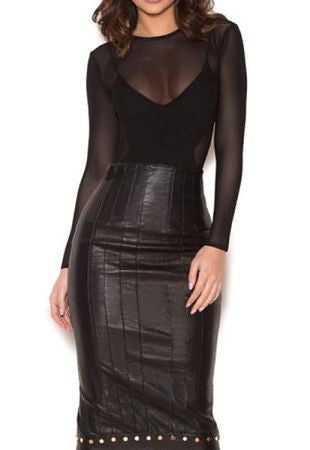 Floreen Black Stretch studded Skirt