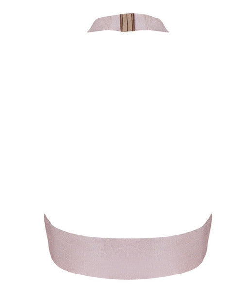 Fran Light Pink Halter Crop Top