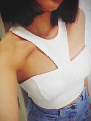 Fran White Halter Crop Top