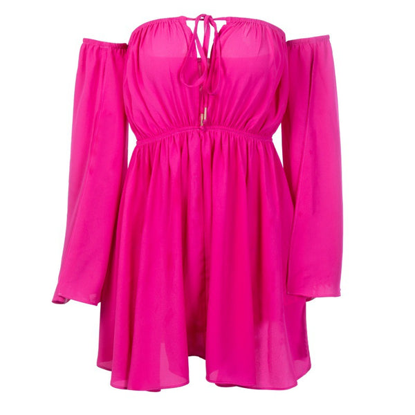 Ivana Hot Pink Off Shoulder Mini Dress