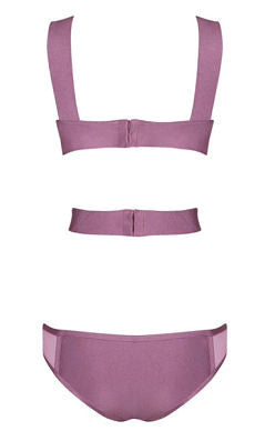 Gaia Purple Cutout Bandage Swimsuit