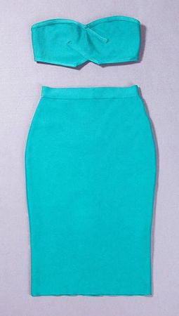 Genevieve Teal Two Piece Dress