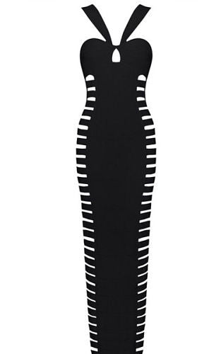 Gwen Black Halter Neck Cut Out Bandage Dress