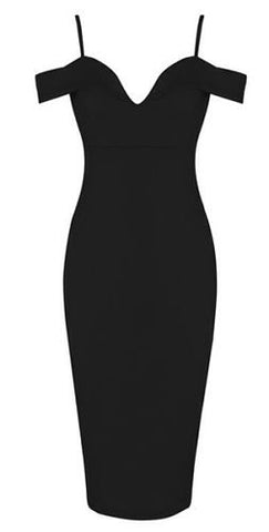 Hayley Black Sexy Neckline Dress