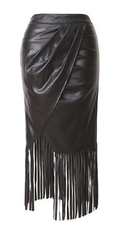 Hazel Black Fringed Hem Wrap Skirt
