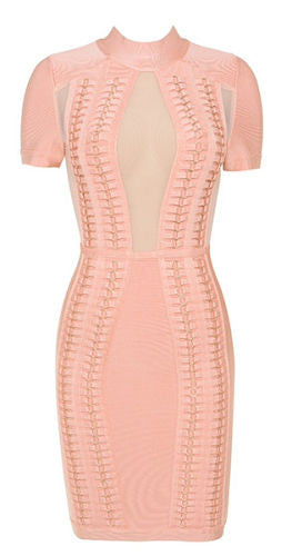 ILMA Pink Mesh Bandage Dress