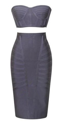 ILSA Gray Two Piece Bandage Dress