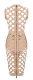 Willow Brown Pearl Caged Bandage Dress