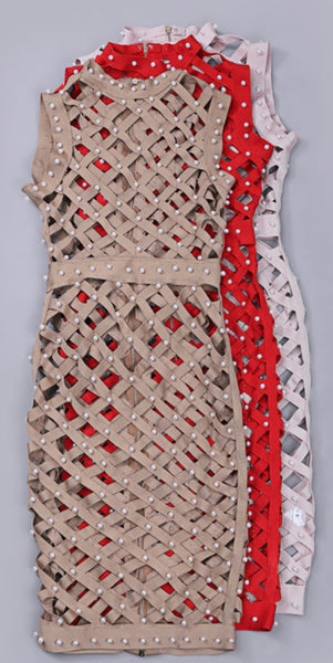 Willow Red Pearl Caged Bandage Dress