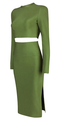 Imani Green Long Sleeve Two Piece Dress