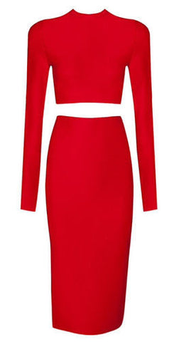 Imani Red Long Sleeve Two Piece Dress